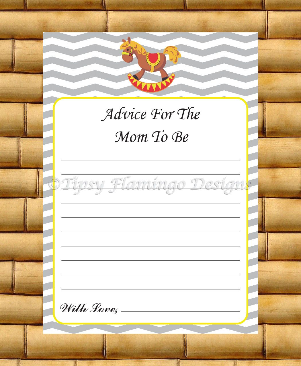CUTE - Printable Baby Shower Game - Advice For The Mom To Be - Instant Download - Grey, White and Yellow - TFD230 by TipsyFlamingoDesigns on Etsy