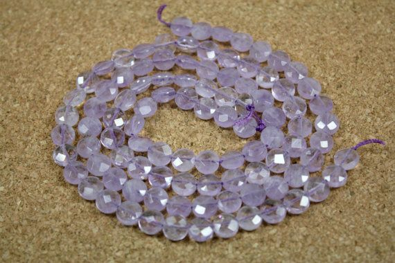 Light Purple Amethyst Faceted Coin 16 inch strand by ABOSBeads, $17.99