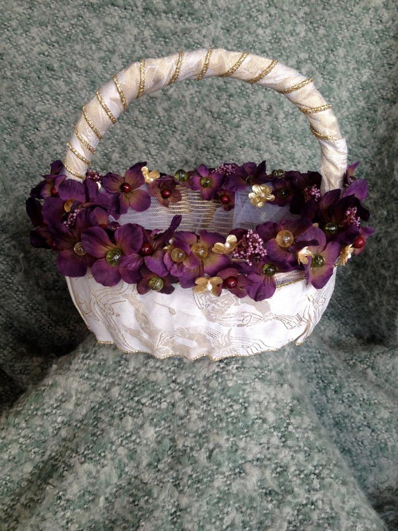 Burgundy and gold flower girl basket gold flower girl