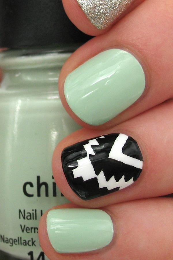 Glitter Aztec Nail Art | Manicuras, Diseños para uñas y Diseños de uñas
