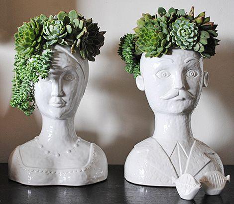 Macetas con forma de bustos de hombre y mujer cuatro macetas muy ...