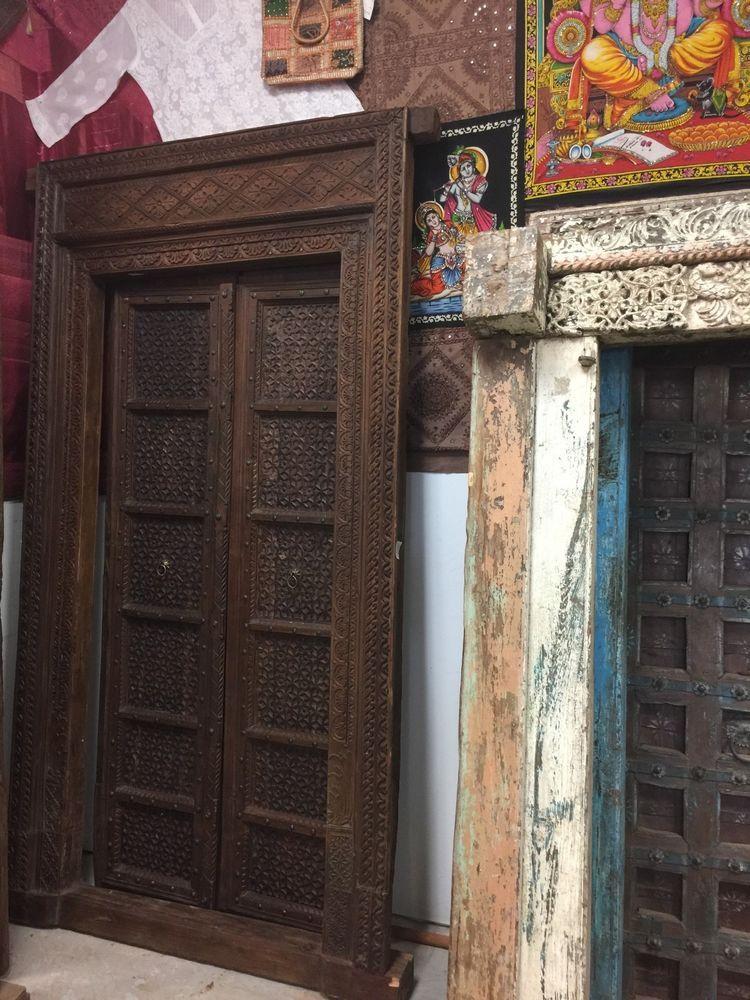 SHEKHAWATI 18c Antique Floral INTRICATE Carved Doors Teak Double Door, Frame  96