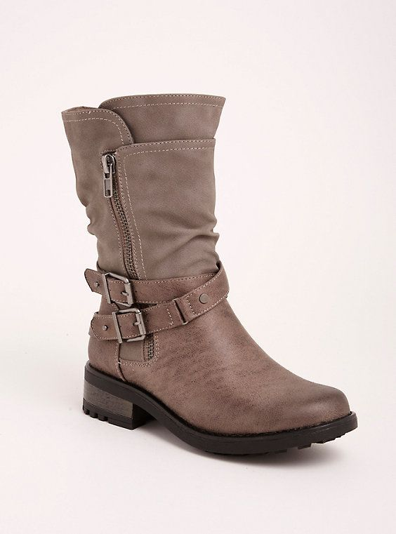 8077d73f898d Plus Size Strappy Slouch Moto Boots (Wide Width   Wide Calf)