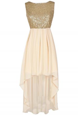 Gold High Low Formal Dresses
