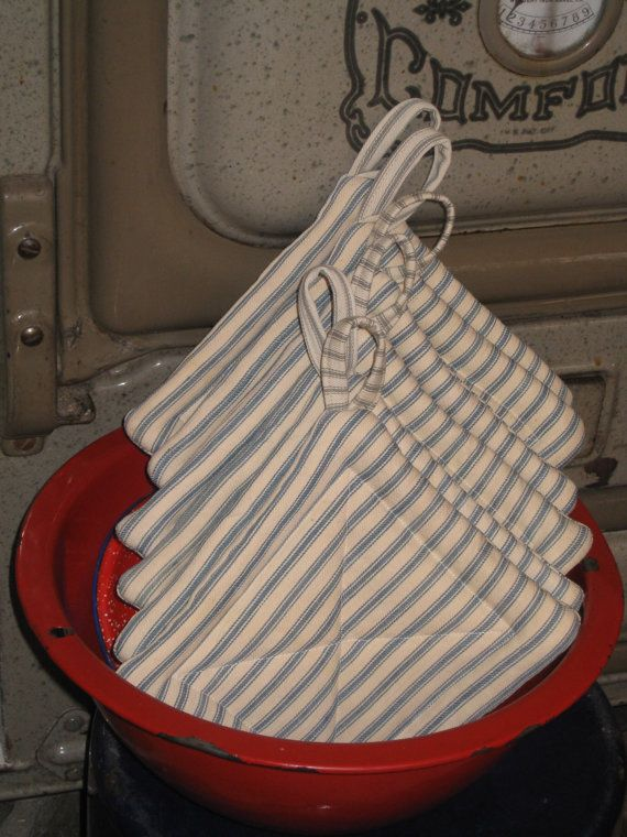 Vintage Ticking Pot Holders Upcycled Rustic Kitchen Gifts Farmhouse Primitive Christmas