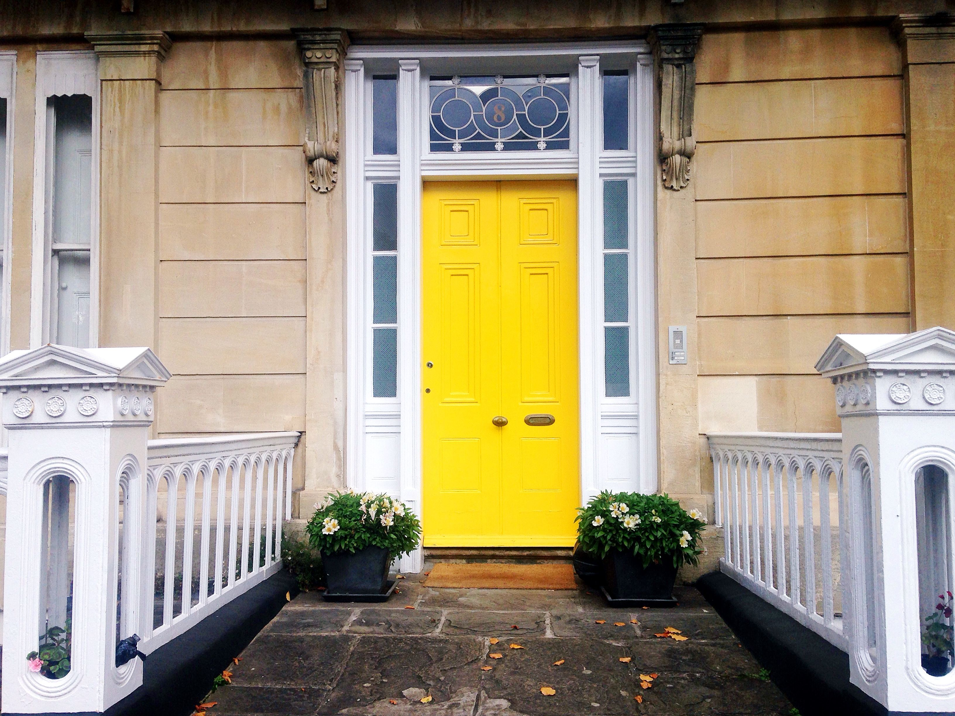 A happy sunshine yellow door in Clifton Bristol #colourfuldoors #painteddoors & Beautiful Bristol: Colourful Bristol Doors   Bristol