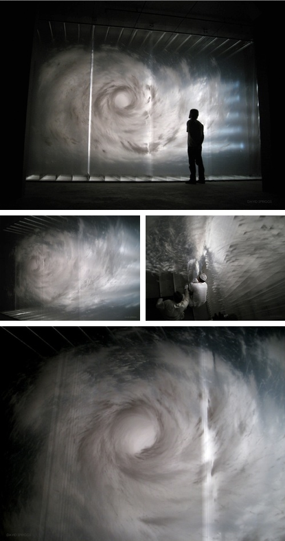 Axis of Power, David Spriggs.     As the viewer walks around Axis of Power, the intriguing & methodical manner in which it was constructed is revealed. Consisting of several sheets of transparent plastic film that have been marked with white acrylic.