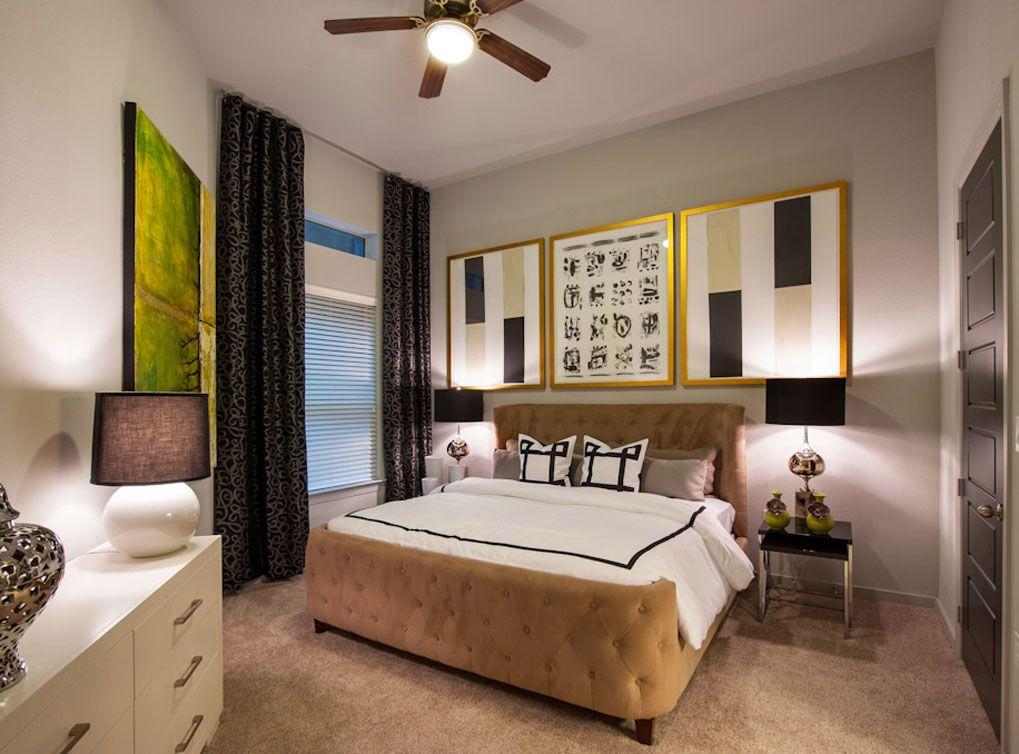 Model bedroom at AMLI Uptown, a luxury apartment