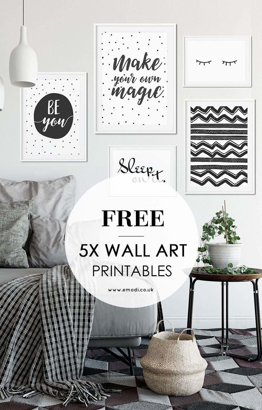 Modern, black and white printables for your scandi style