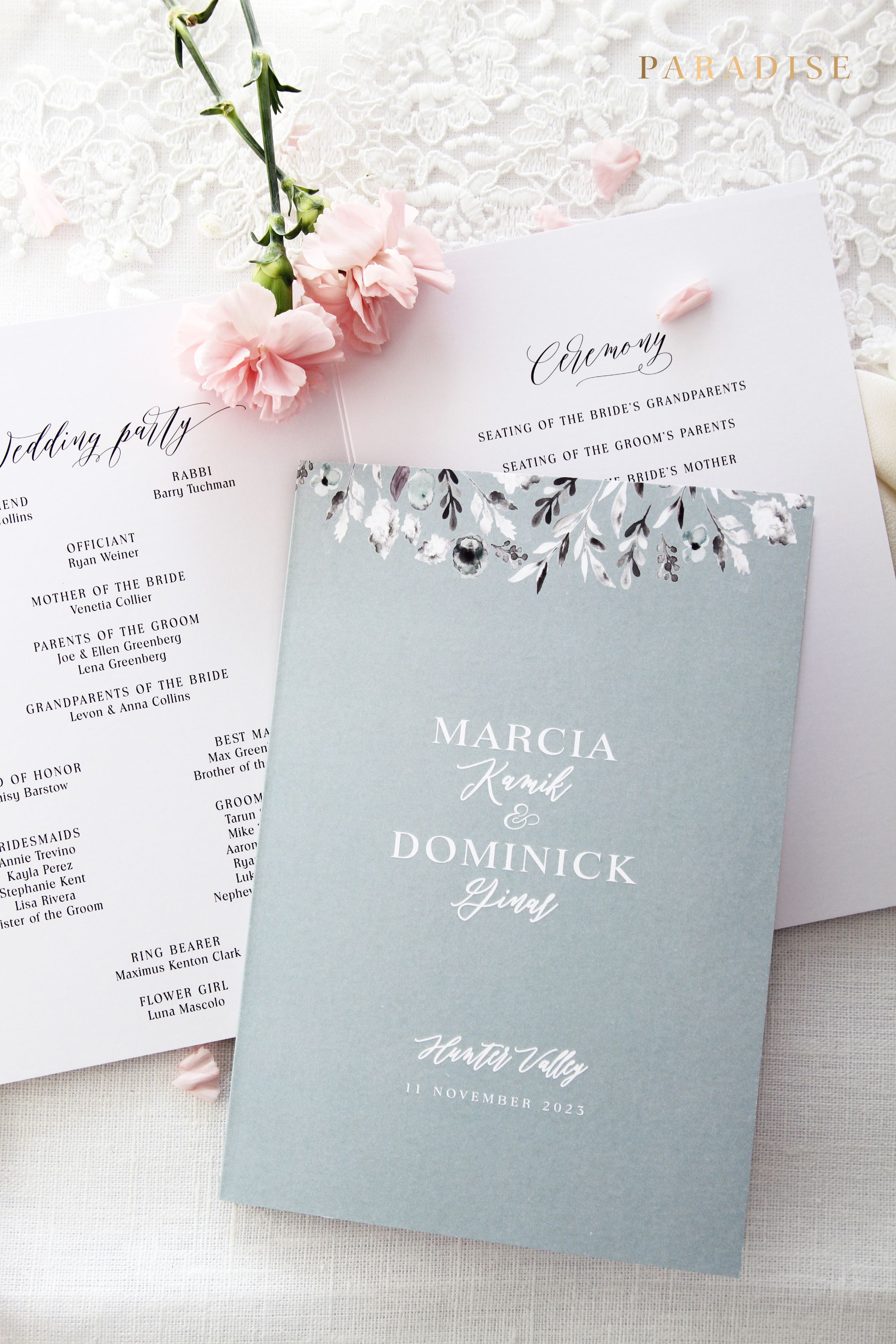 Marcia 2 Wedding Programs Modern Calligraphy Wedding Programs