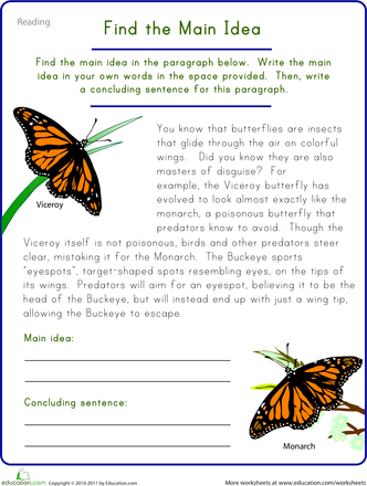Find The Main Idea Viceroy Butterfly Main Idea Worksheet Reading Comprehension Worksheets Reading Comprehension Skills