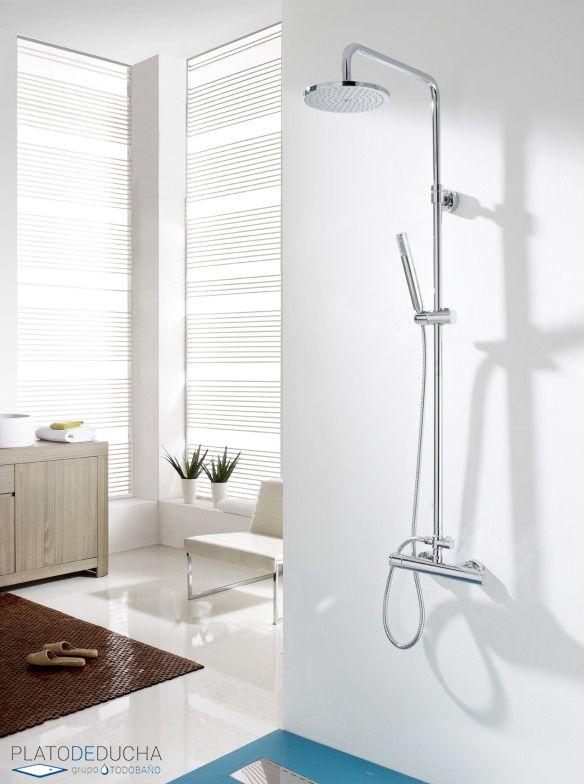 Conjunto de ducha termostático Orlando con barra telescópica