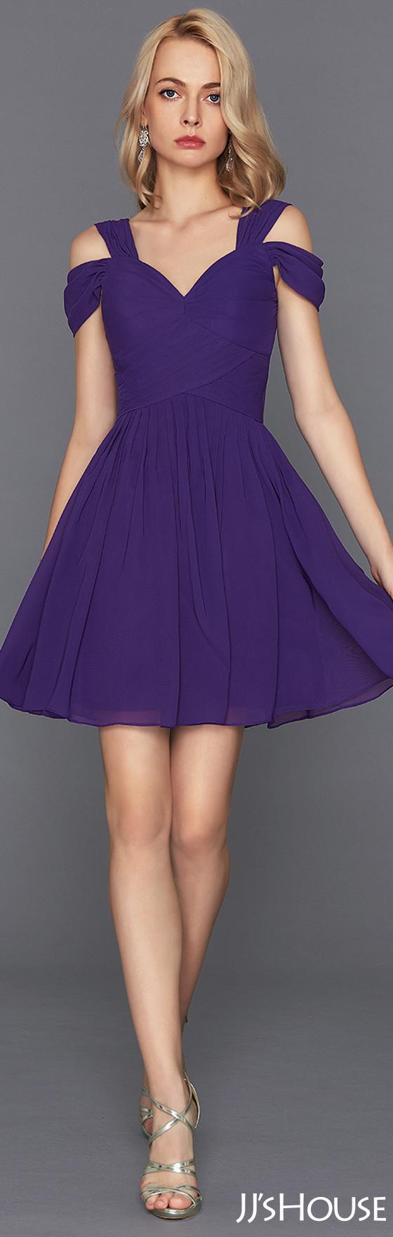 A-Line/Princess Sweetheart Short/Mini Chiffon Cocktail Dress With ...