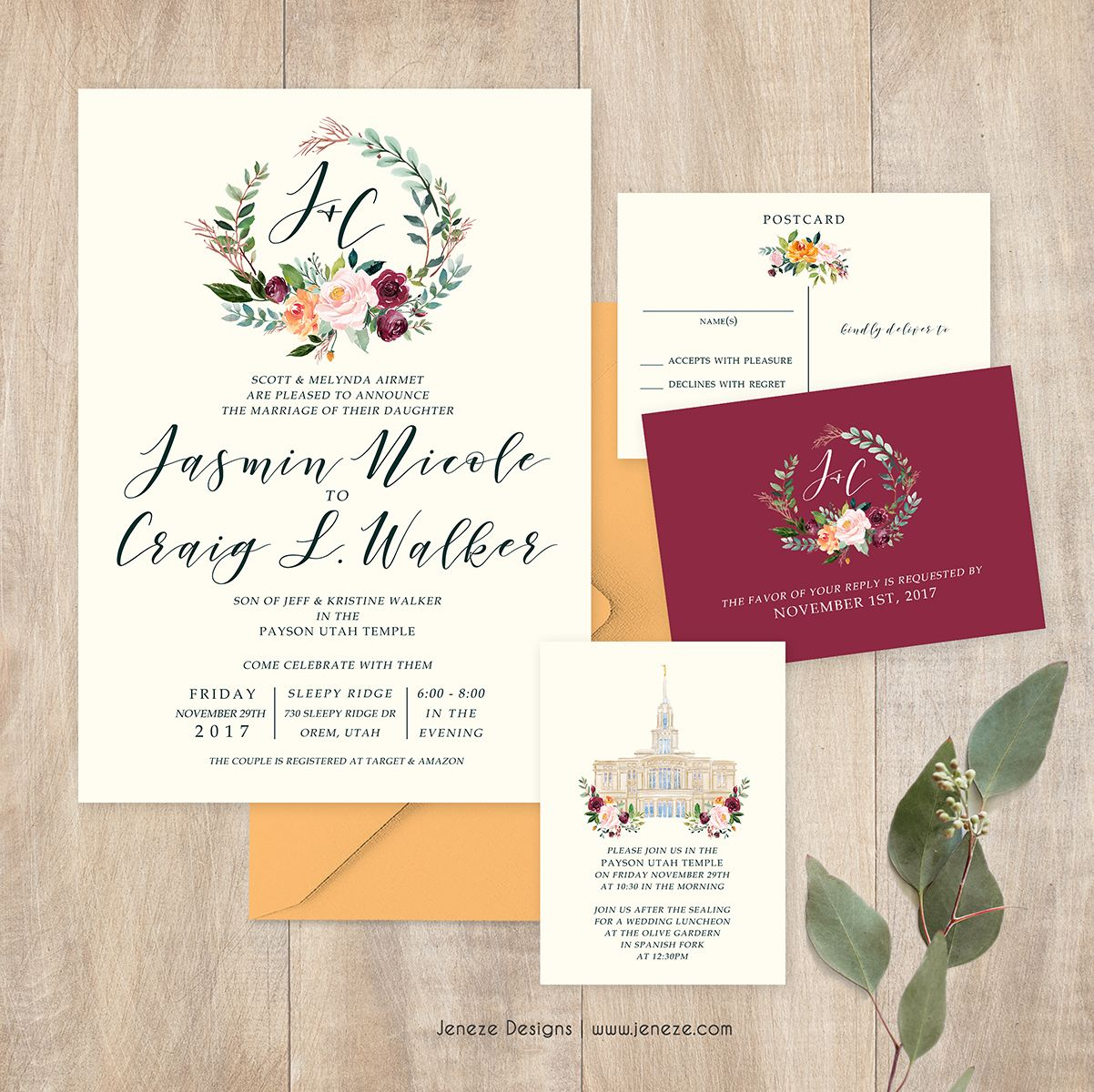 Southern style wedding invitations. Cusotm watercolor flowers in ...