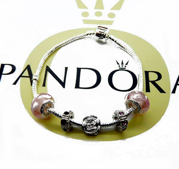 PandoraBraccialeCharmsInRosaArgentoPerline&0177