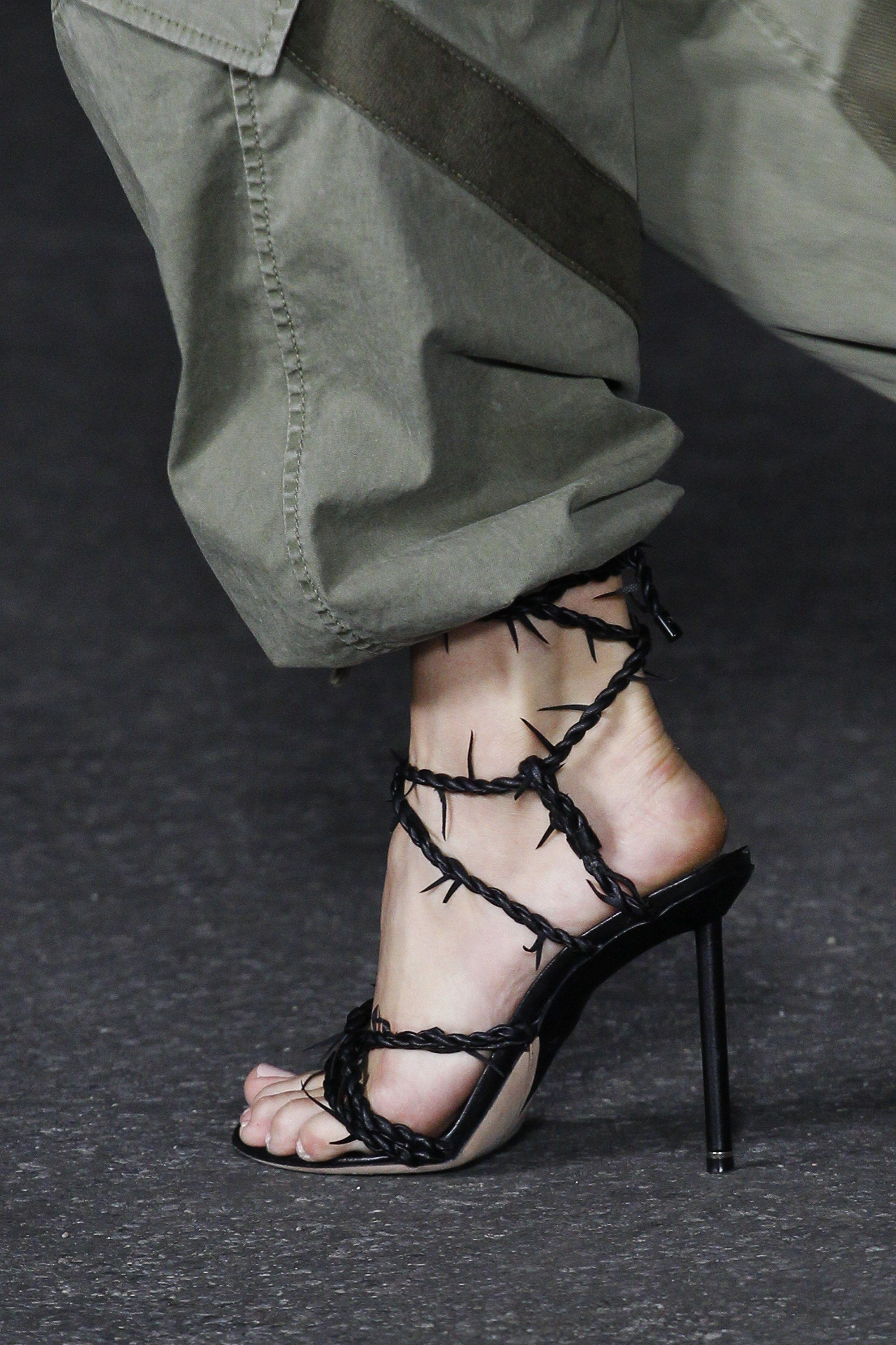 3205d6ba64b Barbed wire shoes seen on the runway
