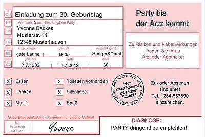 Details zu Einladungskarten ARZT 18 30 40 50 Geburtstag