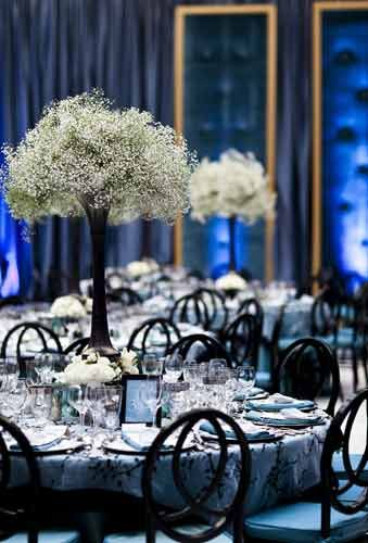 Decor for symphony fundraising gala black and white baby