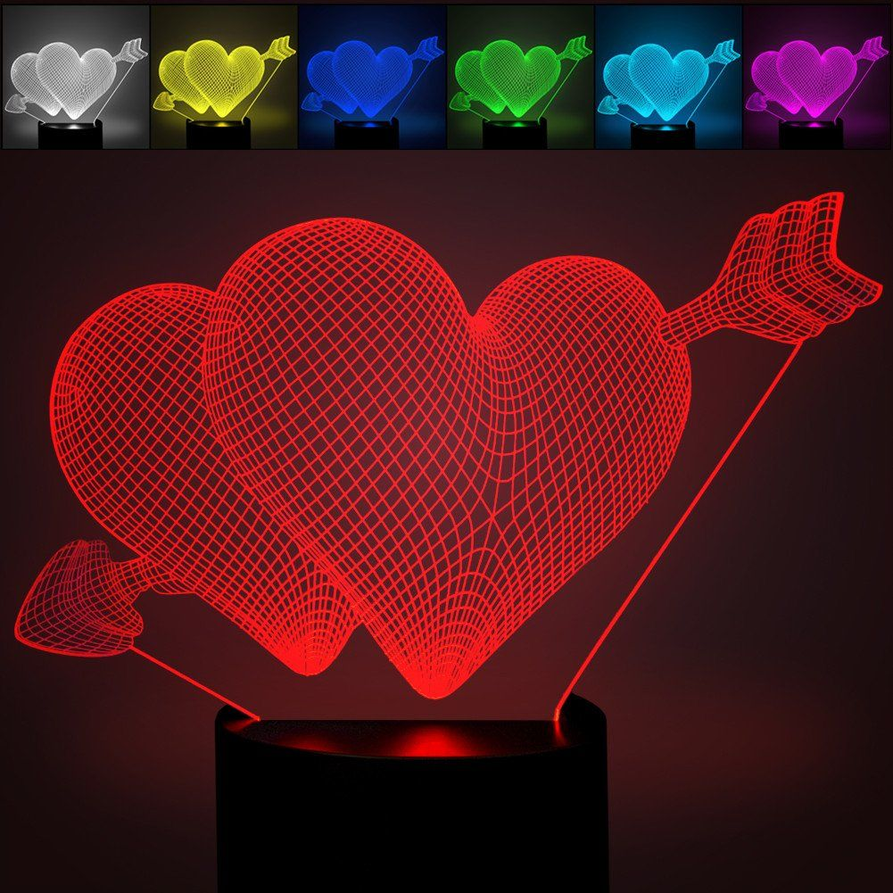 Night lights for bedroom - 3d Illusion Heart Love Arrow Gift Led Night Light Ykl World 7 Color Touch Bedroom