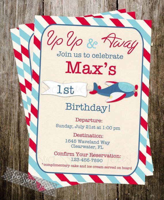 Airplane vintage Invitation plane pilot aviation Birthday Party - plane ticket invitation template
