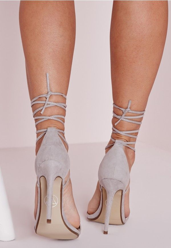 3dbc9bec8dad Lace Up Barely There Heeled Sandals Grey - Shoes - High Heels - Missguided