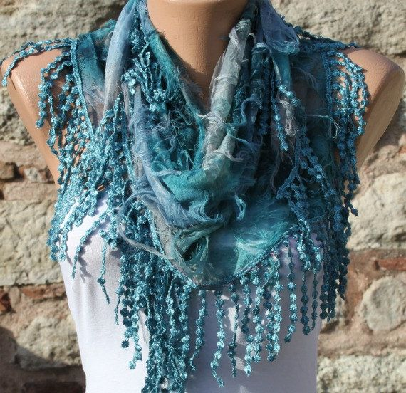 Blue Scarf  Headband Necklace Cowl with Lace Edge by by fatwoman, $17.00