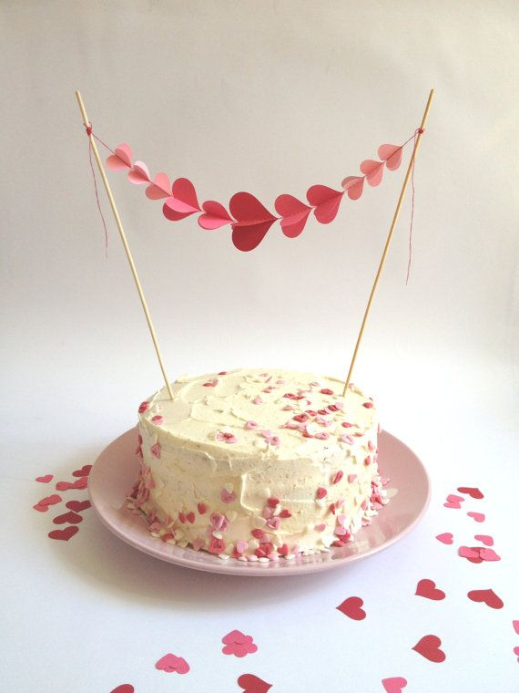 Swell 3D Cake Topper Cake Bunting Red And Pink Hearts Baby Birthday Birthday Cards Printable Riciscafe Filternl