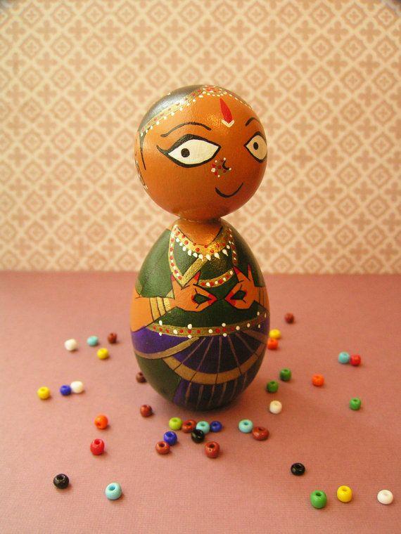Bharatanatyam Dancer - Handpainted Wooden Indian Classical Dance Golu Kokeshi Doll
