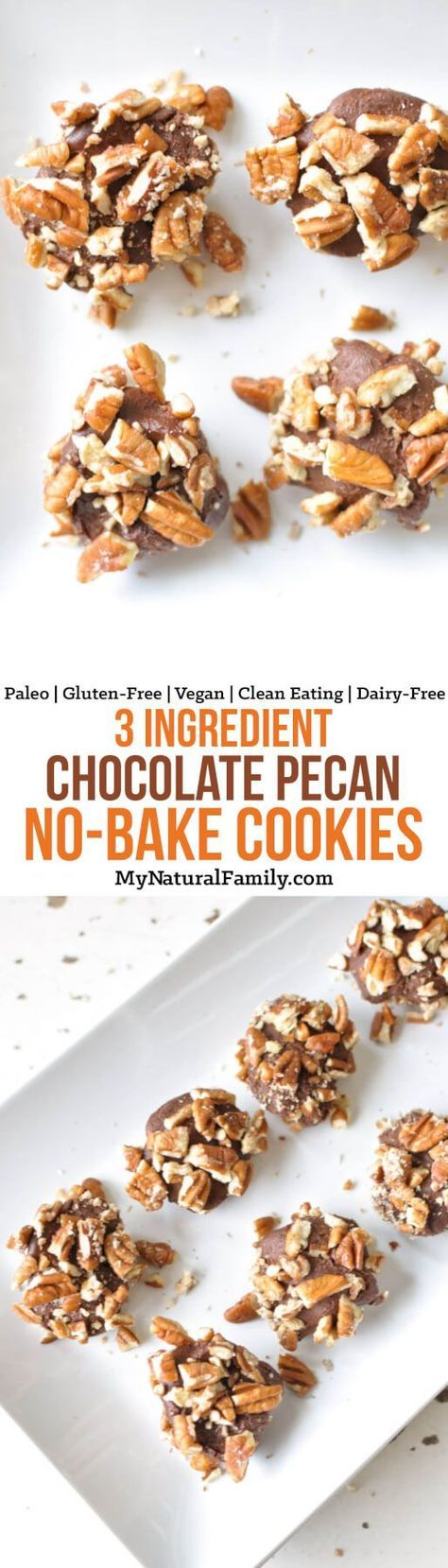 These Paleo no-bake cookies are super simple to whip up with only three wholesome ingredients and are perfect hide in the back of the fridge for late night cravings. {Gluten-Free, Clean Eating, Vegan, Dairy-Free} #paleo #glutenfree #healthydessert #paleodessert #vegan #vegandessert #dairyfree #dairyfreedessert #paleocookies #glutenfreecookies #healthycookies #healthychocolate #vegancookies #paleorecipe #paleorecipes #glutenfreerecipe #glutenfreerecipes