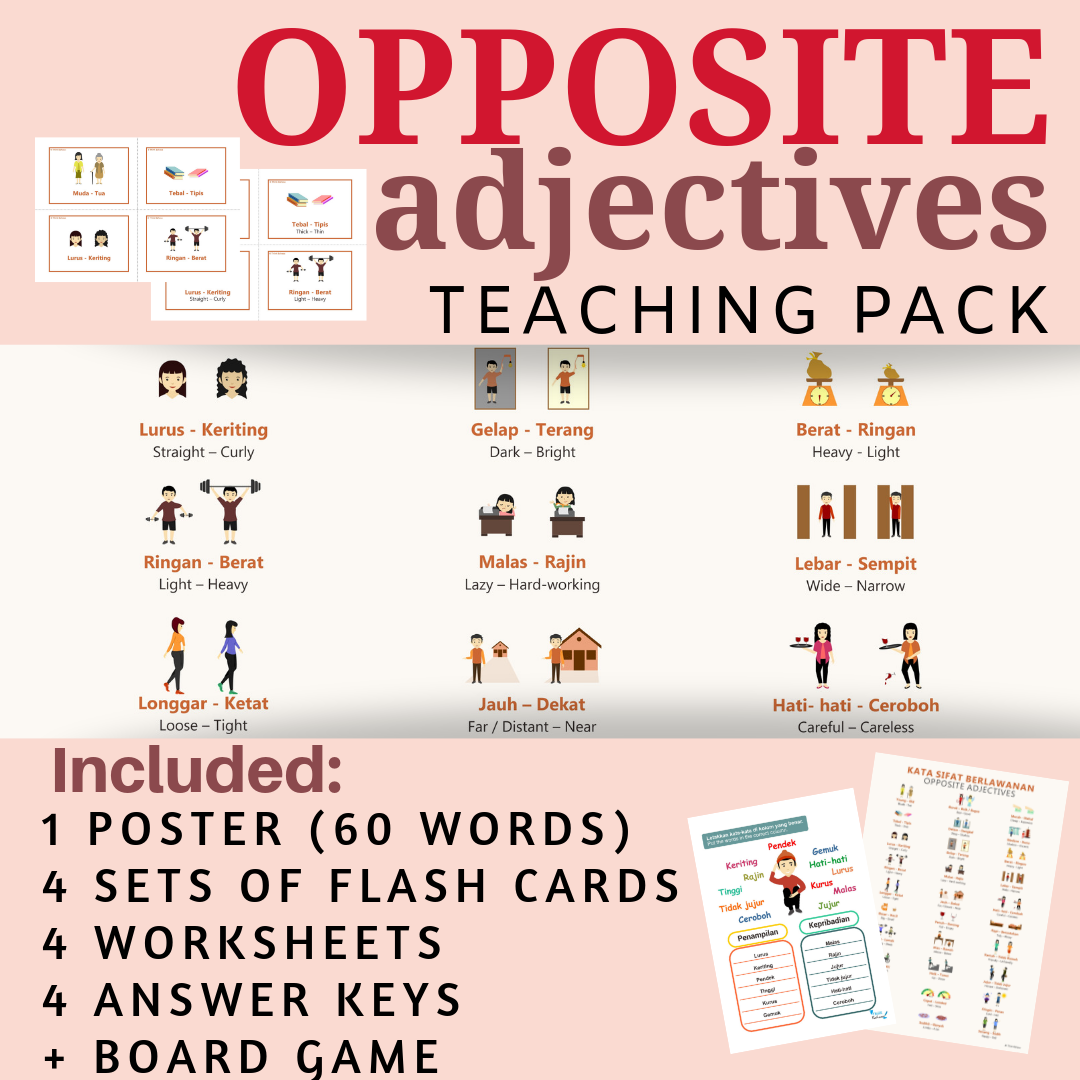 Indonesian Adjectives No Prep Packet Poster Flash Cards