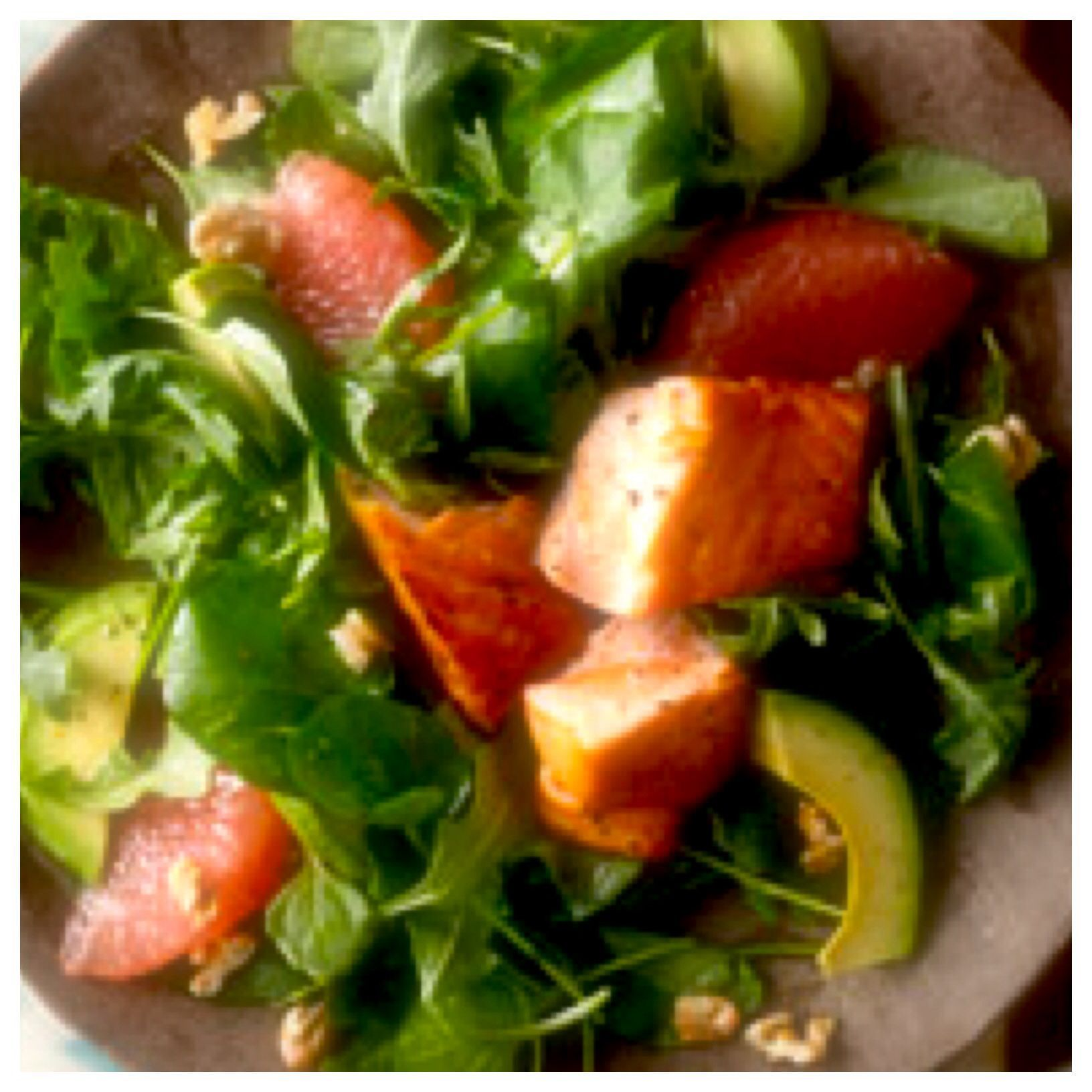 Avocado Grapefruit Salad with Seared Salmon 1 large grapefruit 2 bunches arugula 1 ripe avocado sliced 2 tbsp lemon juice 2 tbsp olive oil 1/2 tsp salt 1/2 tsp pepper 3 salmon fillets  1/4 c walnuts chopped Peel & segment grapefruit. Toss grapefruit with arugula & avocado; place on 4 plates. whisk lemon juice, oil, and 1/4 tsp salt & pepper. Salt & pepper salmon. Cook for 8 minutes Cut into pieces; top salads add dressing & walnuts. Nutrition Information Calories per serving360 #walnutsnutrition #walnutsnutrition
