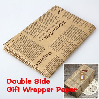 Double Size Wrapping Paper Vintage Newspaper Gift Wrap Artware Packing Package Paper Christmas Newspaper Gift Christmas Gift Wrapping Paper Gift Wrapping Paper