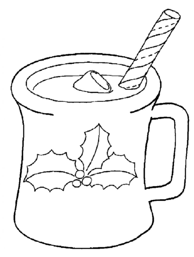 Hot Chocolate Coloring Sheet Coloring Pages Of Santa Enjoying With