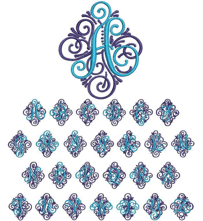 Ornate Single 2 Color 50mm Font | ESA Machine Embroidery