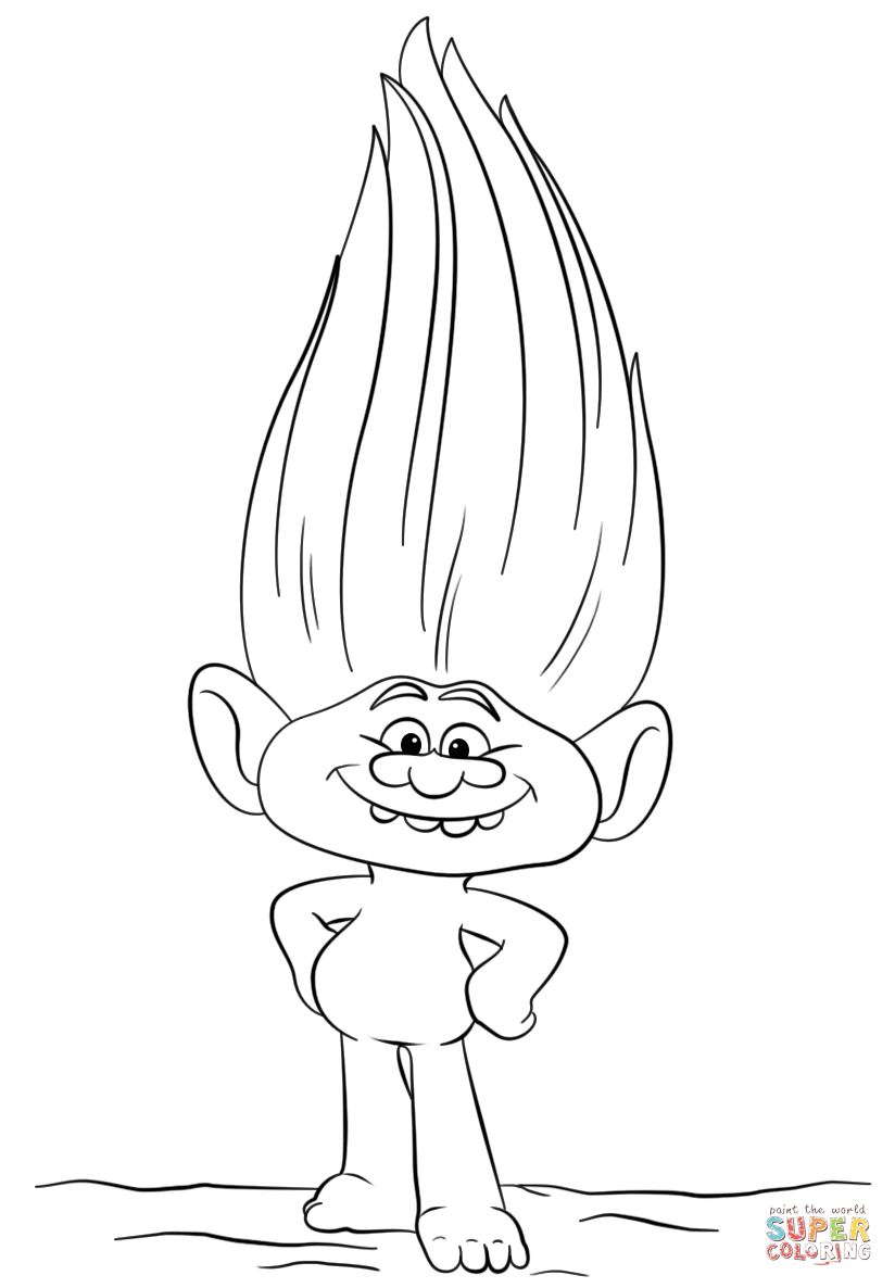 Guy Diamond from Trolls Super Coloring Cartoon