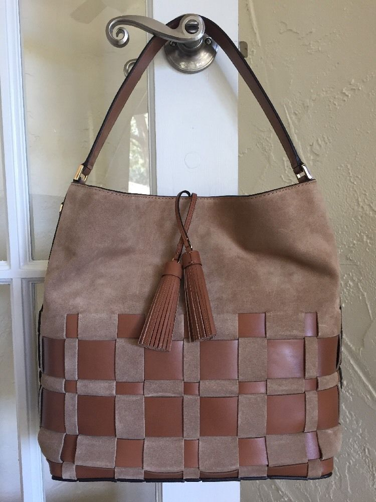 Michael Kors Vivian Large Woven Suede   Leather Hobo Shell Acorn ... 3bda019203b74