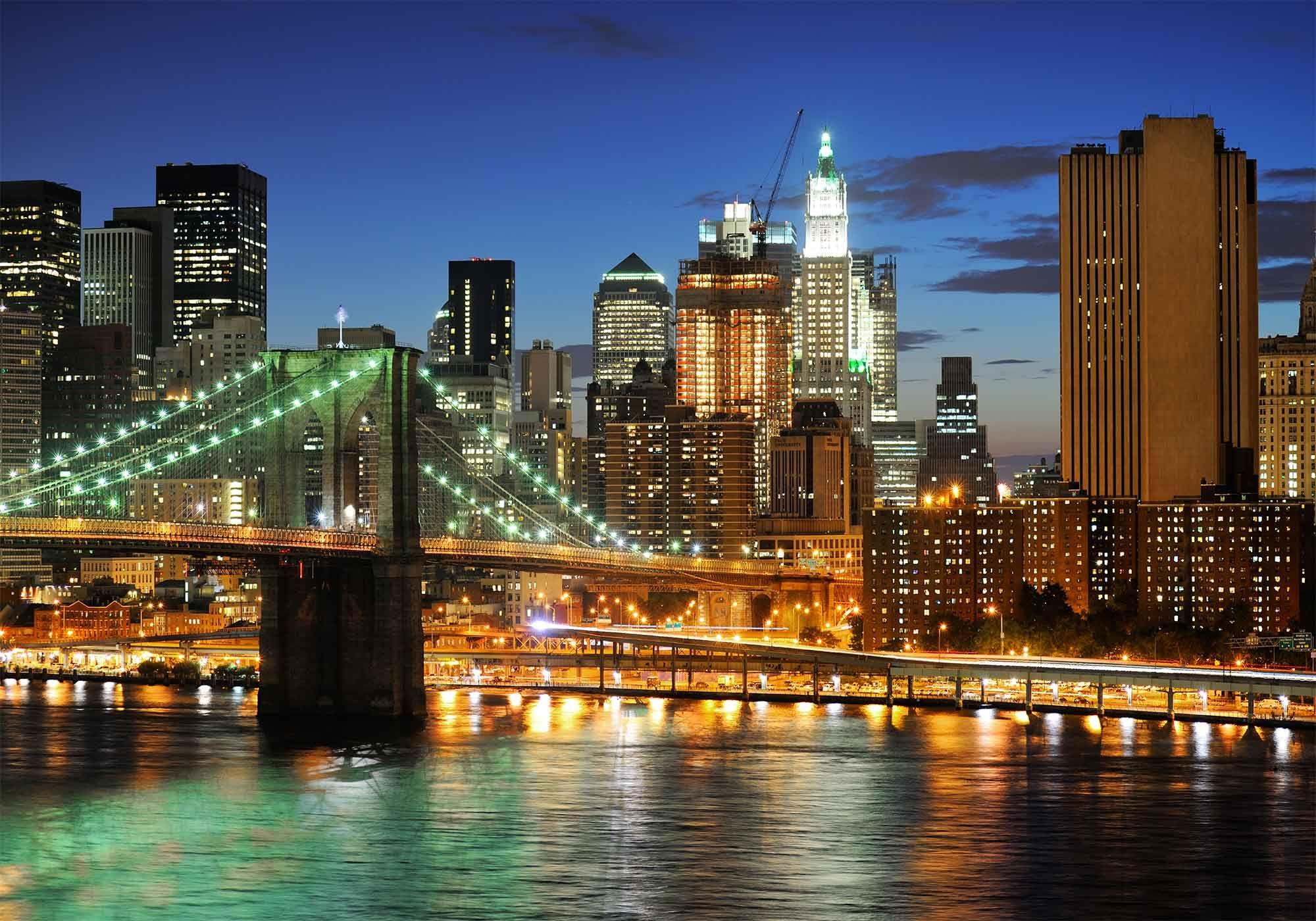 Beautiful Night View Of Brooklyn Bridge
