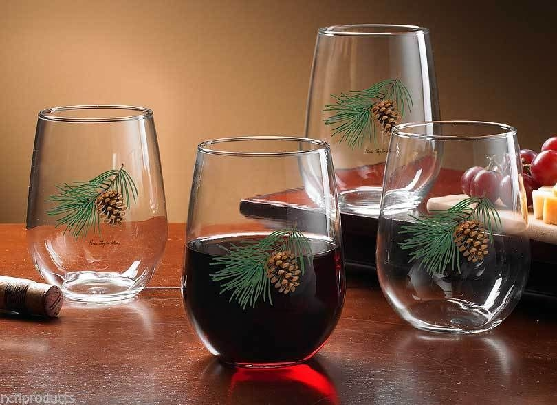 NW 16 OZ BEVERAGE GLASSWARE STEMLESS WINE GLASSES RUSTIC PINECONE PINECONES