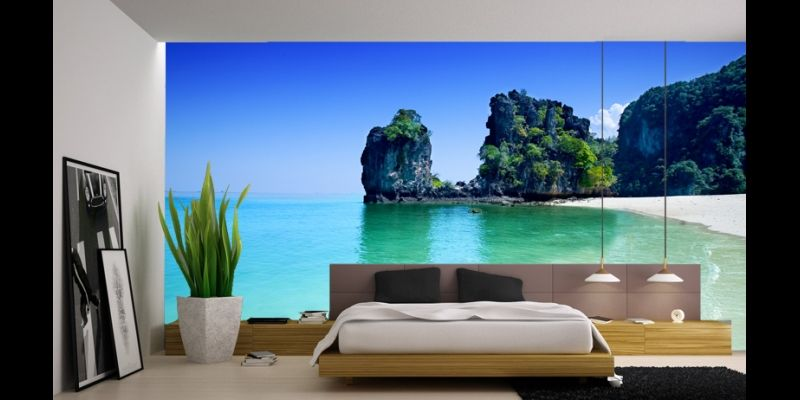 Tropical wall murals inspired office spaces pinterest for Beach mural bedroom