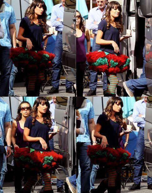 Lea Michele on set #Glee