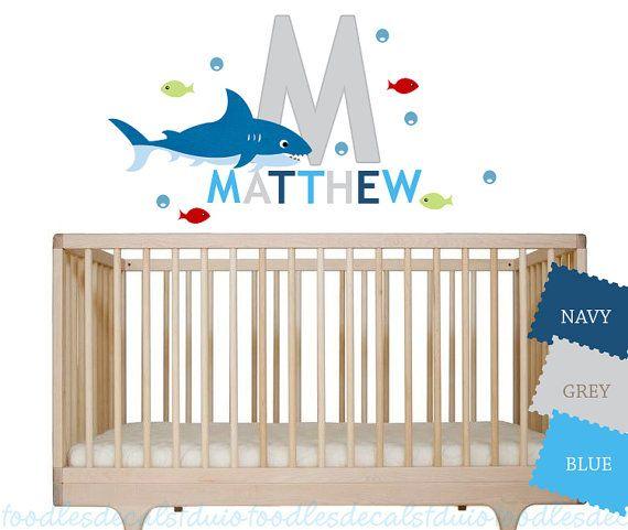 Shark Nursery Wall Decal Reusable Fabric Decals Gender Neutral - Nursery wall decals gender neutral