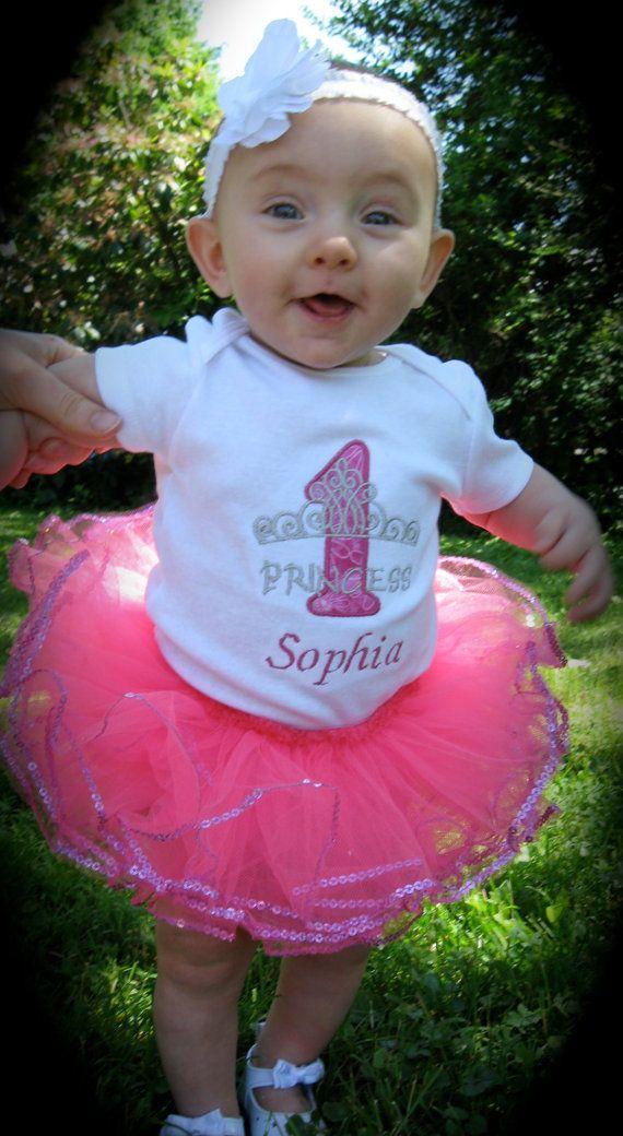 Personalized Princess Baby Girls First Birthday Tiara Bodysuit Tutu