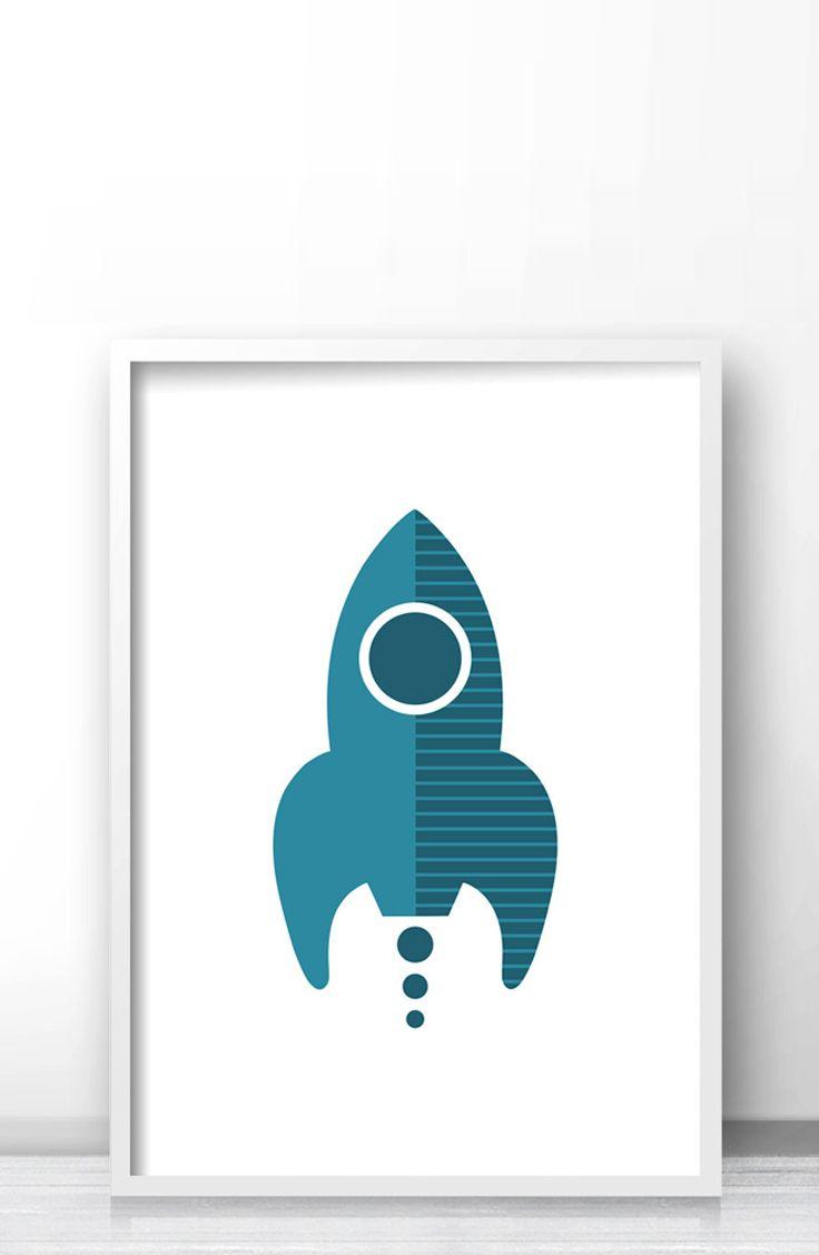 Printable Rocket Nursery Art Modern Outer E Decor Ship Boys Room Wall Print