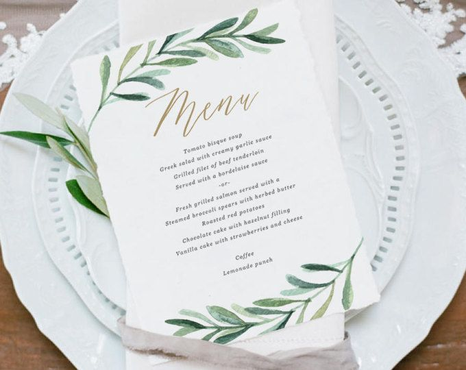 Greenery Wedding Menu Template Printable Menu Garden Wedding