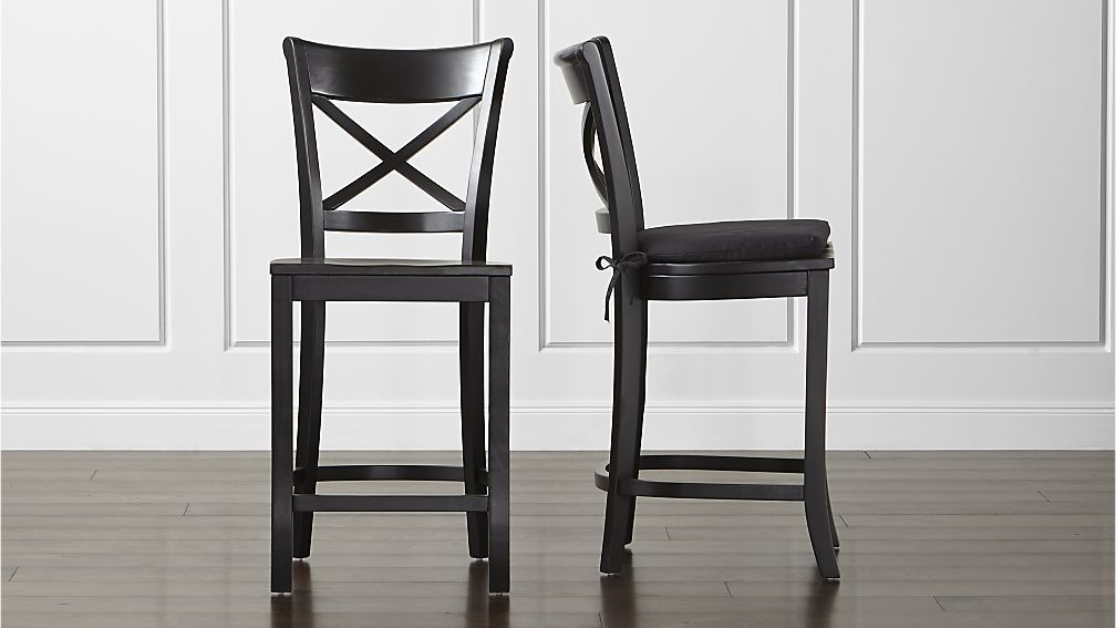 Vintner Black Bar Stool And Cushion Add A Layer Of Comfort By Tying On Custom Ed Cotton The Counter Is Crate