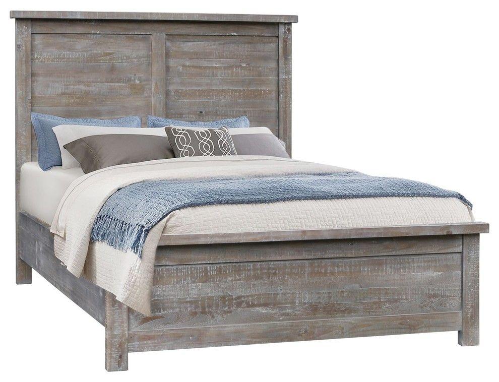Denver gray farmhouse wooden platform bed king beds and
