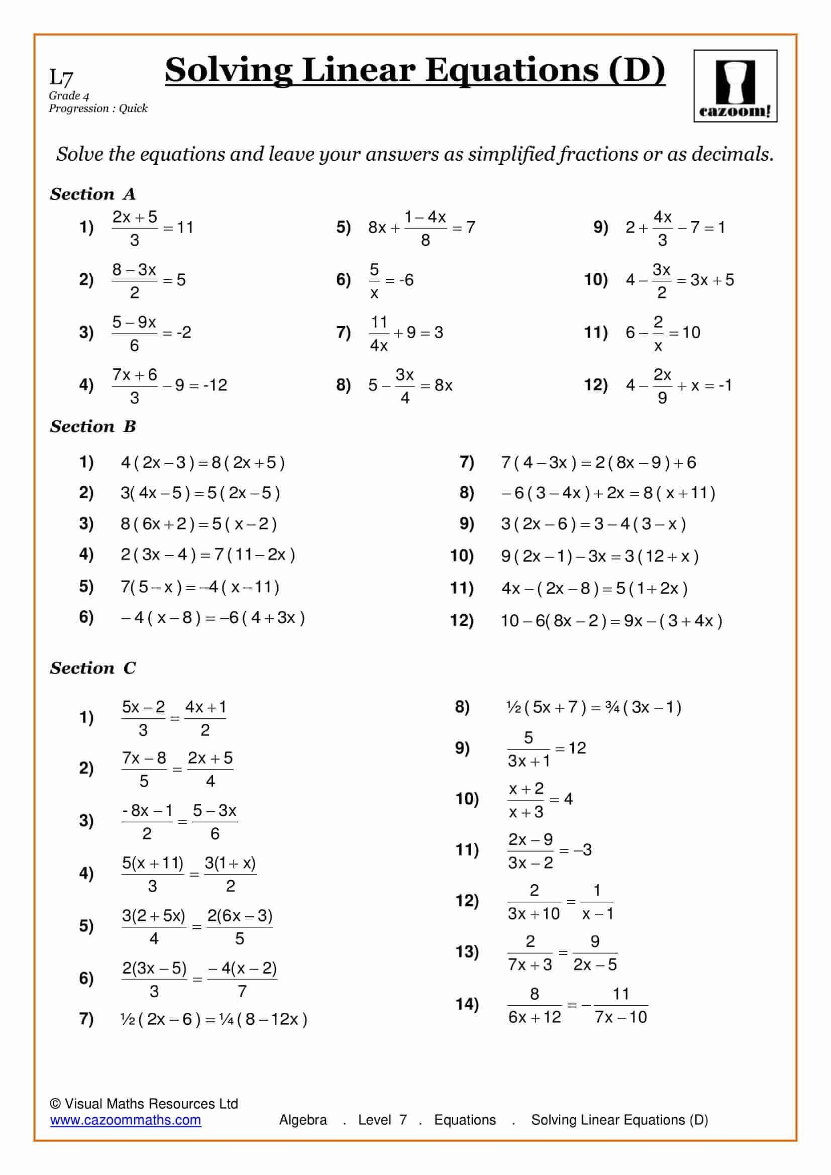 Solving Equations With Fractions Worksheet Solving