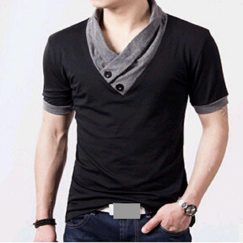 2016 T Shirts Men V Neck T-Shirt Brand Cotton Mens Patchwork ...