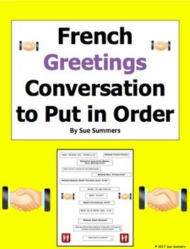 French Greetings Conversation To Put in Order / Greetings Skit