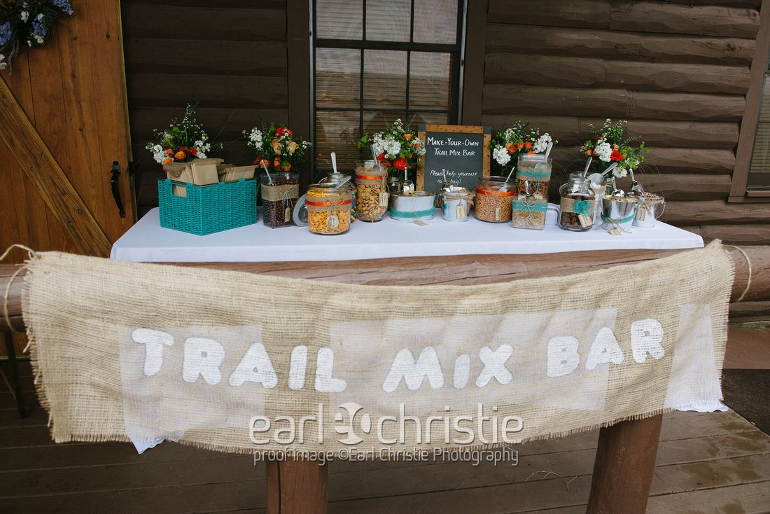 Rustic Trail Mix Bar Burlap Sign For Sale